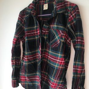 Faded glory colorful striped flannel shirt size M